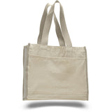All Time Favorite 2 Tone Canvas Tote Bag with Front Pocket and Wider Web Handles - Natural TFW1100 - NATURAL