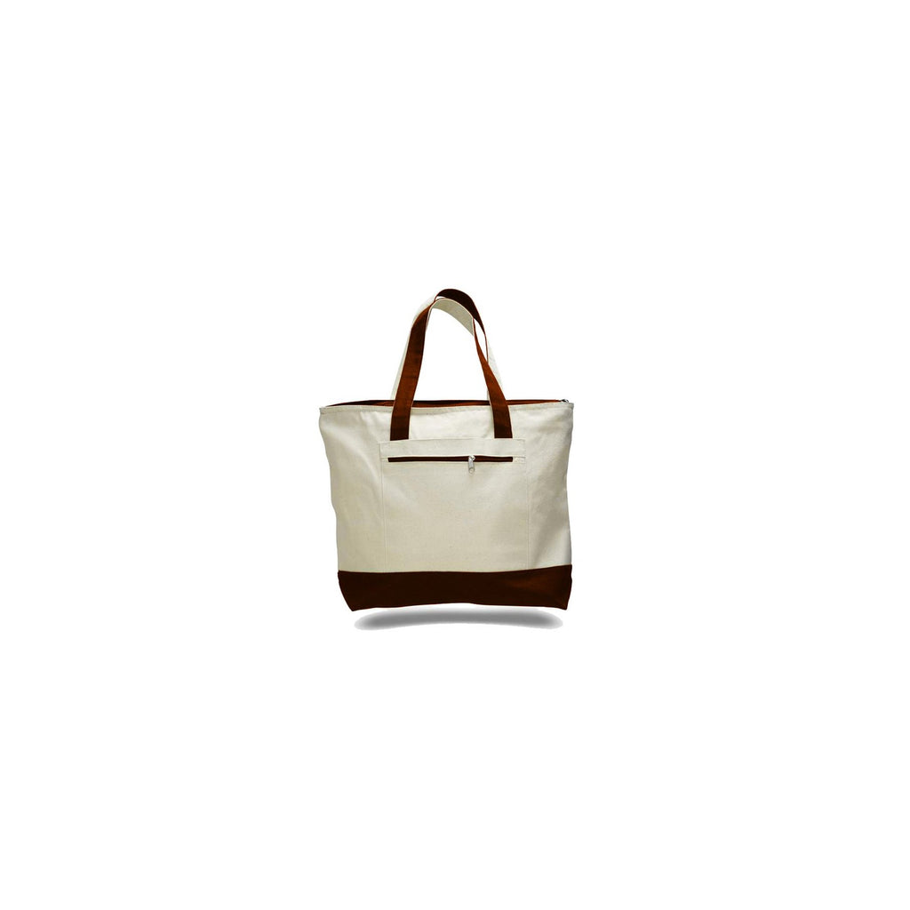 Milan Style 2 Tone Canvas Tote Bag with Front Zipper Pocket - Colors TFW1300-C