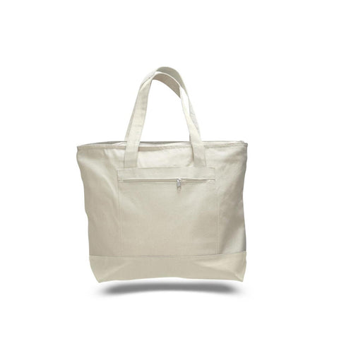 Milan Style 2 Tone Canvas Tote Bag with Front Zipper Pocket - Natural TFW1300 - NATURAL