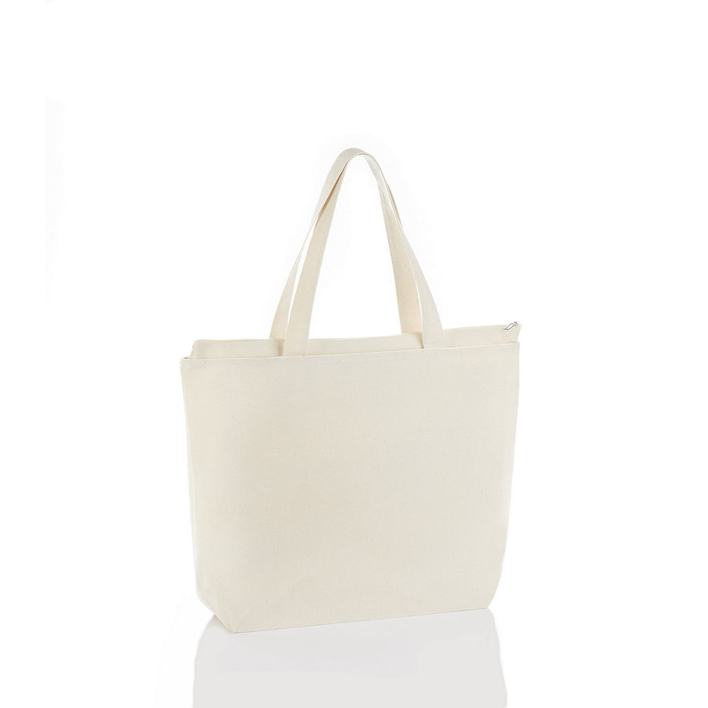 Madrid Style Canvas Classic Tote Bag with Bottom Gussett and Self Fabric Handles - Natural TFW600 - NATURAL
