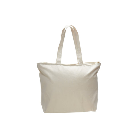 Madrid Style Canvas Classic Zipper Tote Bag with Bottom Gusset and Self Fabric Handles - Natural TFW611 - NATURAL