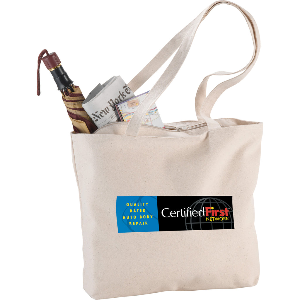 Zippered 12Oz Cotton Canvas Shopper Tote 7900-46