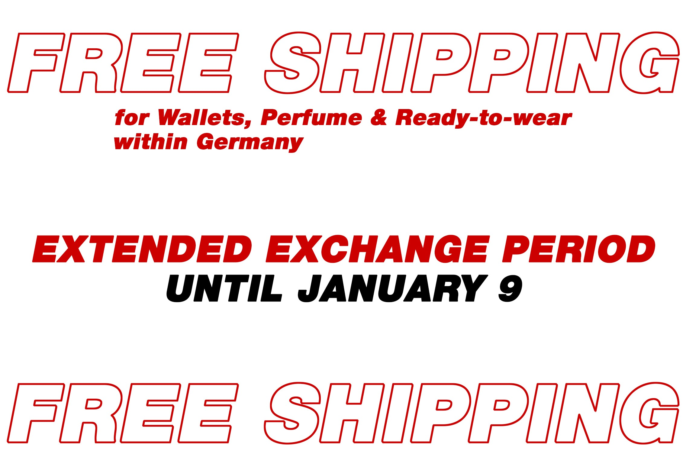 FREE SHIPPING for Wallets, Perfume & Ready-to-Wear