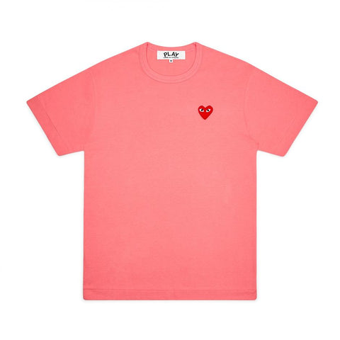 Play Comme des Garçons T-Shirt - Colourful Red Heart Emblem light pink bright