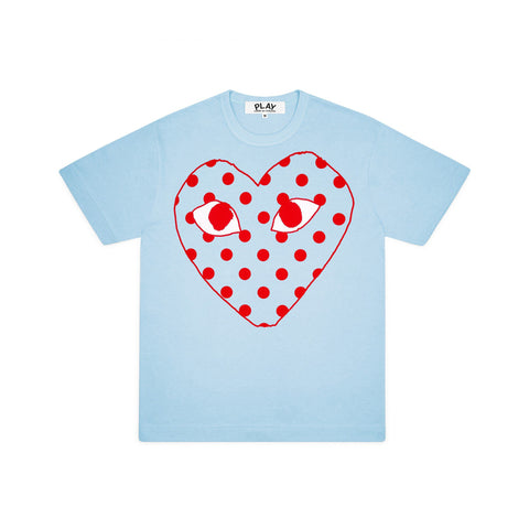 Play Comme des Garçons T-Shirt - Colourful Red Heart Emblem baby blue neon bright