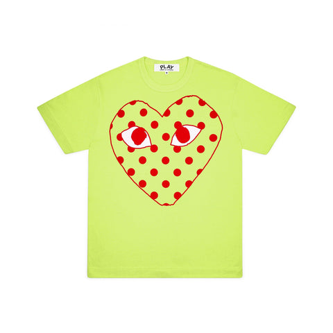 Play Comme des Garçons T-Shirt - Colourful Red Heart Emblem green bright