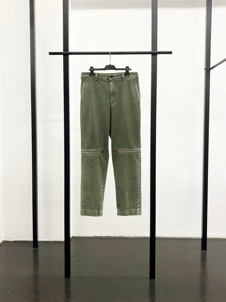 BLACK CDG Cotton Drill Zip Detail Pants / Khaki
