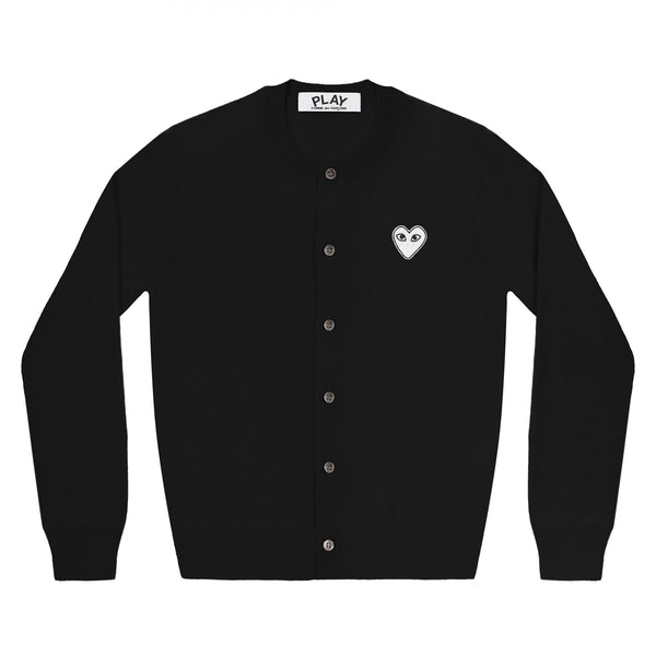 Play Comme des Garçons Ladies' Cardigan - Black / White Heart Emblem