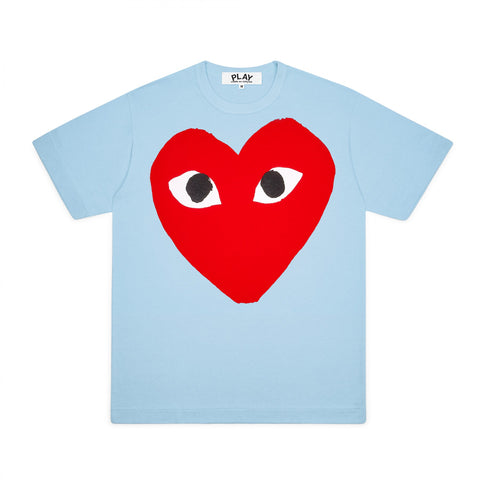 Play Comme des Garçons T-Shirt - Colourful Red Heart Emblem light blue bright