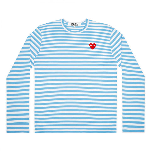 CDG Play Comme des Garçons Striped Longsleeve - Colourful - BLUE  / Red Heart Emblem