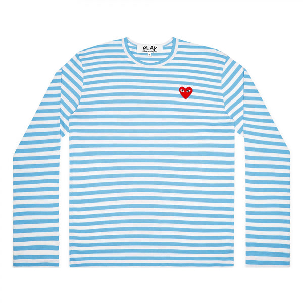 Play Comme des Garçons Striped Longsleeve - Colourful - Blue / Red Heart Emblem