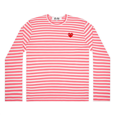 CDG Play Comme des Garçons Striped Longsleeve - Colourful - Pink / Red Heart Emblem