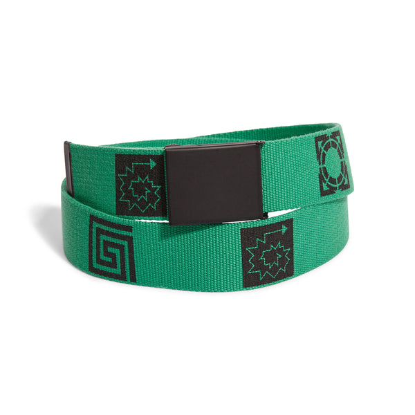 RASSVET Textile Belt Green Printed Black