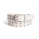 RASSVET / PACC8K008-2 / MEN'S LEATHER BELT WITH EYELETS - WHITE