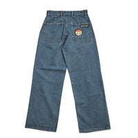 RASSVET / PACC8P006-2 / MEN'S DENIM BAGGY PANTS WITH SILICON PATCH - BLUE