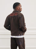 RASSVET / PACC8P005-1 / MEN'S DENIM PANTS WITH EMBROIDERY - BROWN