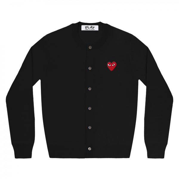 Play Comme des Garçons Ladies' Cardigan - Black / Red Heart Emblem