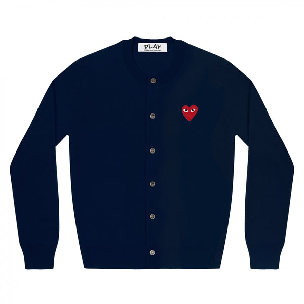Play Comme des Garçons Ladies' Cardigan - Navy / Red Heart Emblem