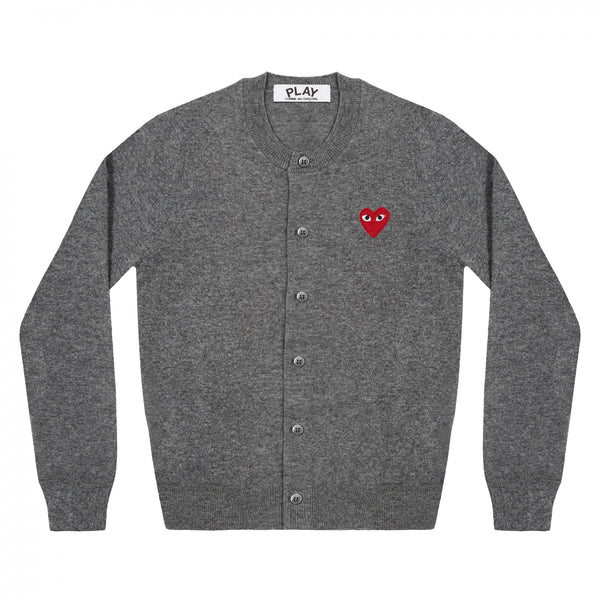 Play Comme des Garçons Ladies' Cardigan - Grey / Red Heart Emblem