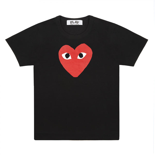 Play Comme des Garçons T-Shirt - Black / Big Red Heart Print