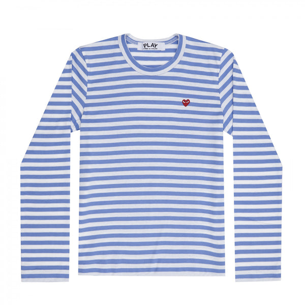 Play Comme des Garçons Colour Series Striped Longsleeve -  Blue / Red Heart Emblem