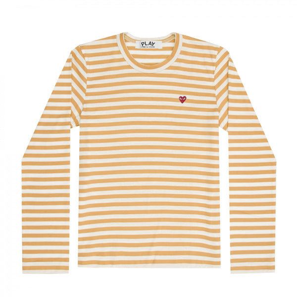 Play Comme des Garçons Colour Series Striped Longsleeve -  Yellow / Red Heart Emblem