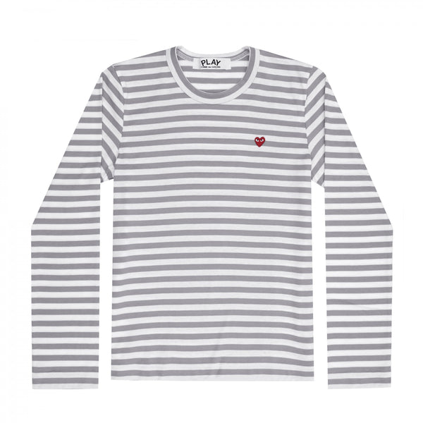 Play Comme des Garçons Colour Series Striped Longsleeve -  Grey / Red Heart Emblem