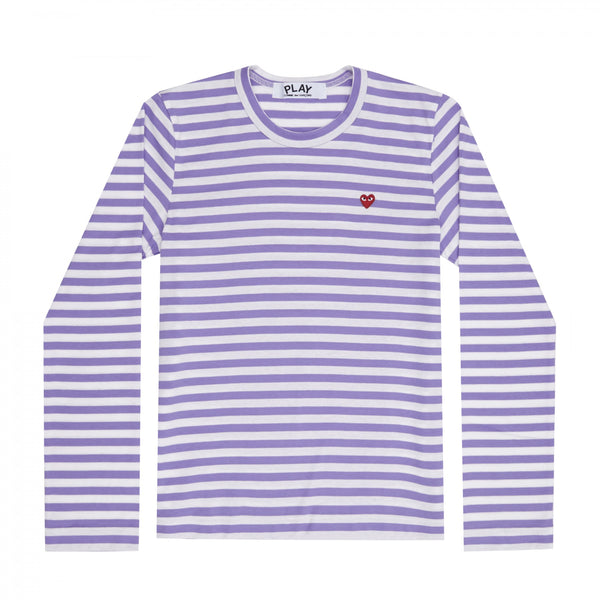 Play Comme des Garçons Colour Series Striped Longsleeve -  Purple / Red Heart Emblem