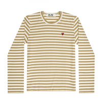 Play Comme des Garçons Colour Series Striped Longsleeve -  Olive / Red Heart Emblem