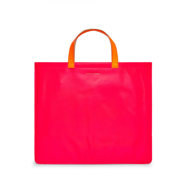 CDG Super Fluo Tote Bag - Pink/Yellow / SA9000SF