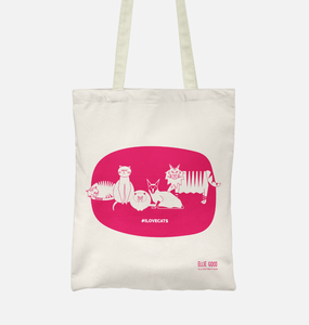 #ILOVECATS Salvaged Fibre Tote (Hot Pink)