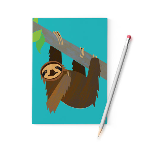 Three-toed Pygmy Sloth A6 notebook, printed on recycled paper