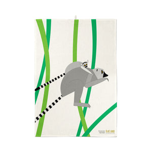 Leaping Lemurs Organic Cotton Tea Towel