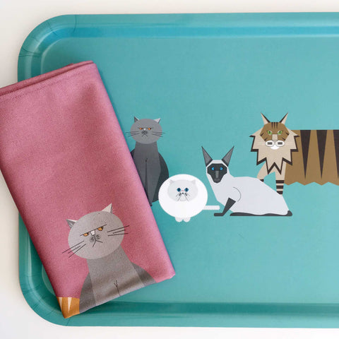 Cat Characters tray + tea towel gift set