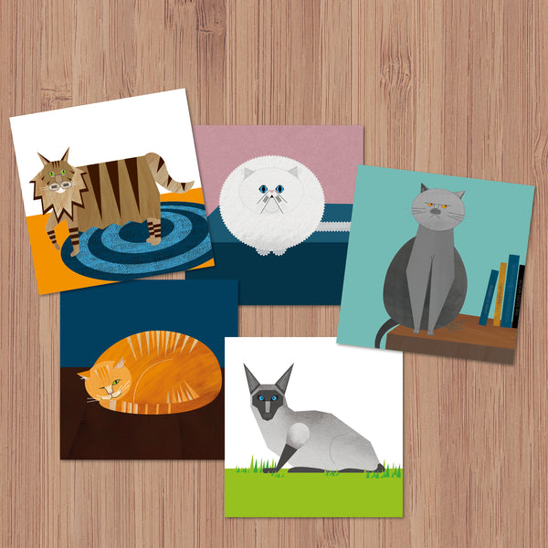 Pack of 5 Cats Characters Greetings Cards
