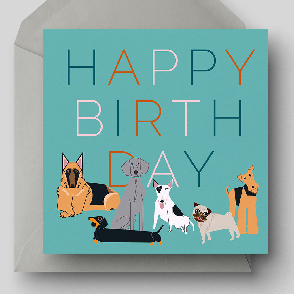 Happy Birthday Dogs Greetings Card