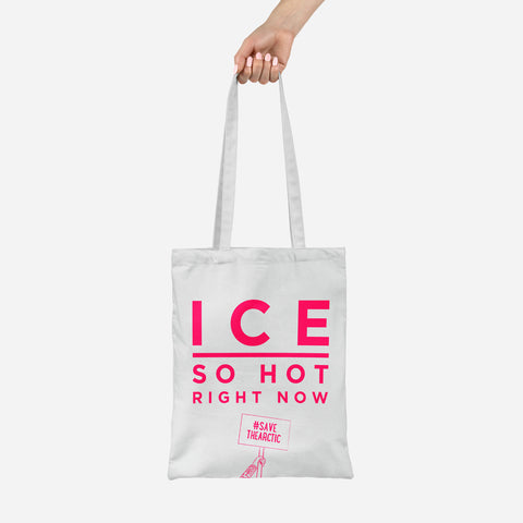 Hot Ice slogan tote made from recycled fabric