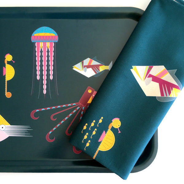 Sea Creatures Tray + Tea Towel Gift Set