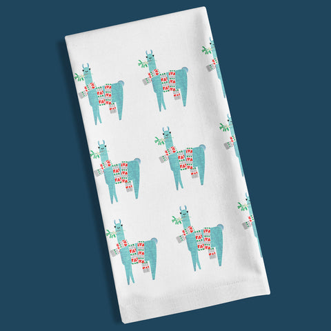Festive Llama organic cotton tea towel.