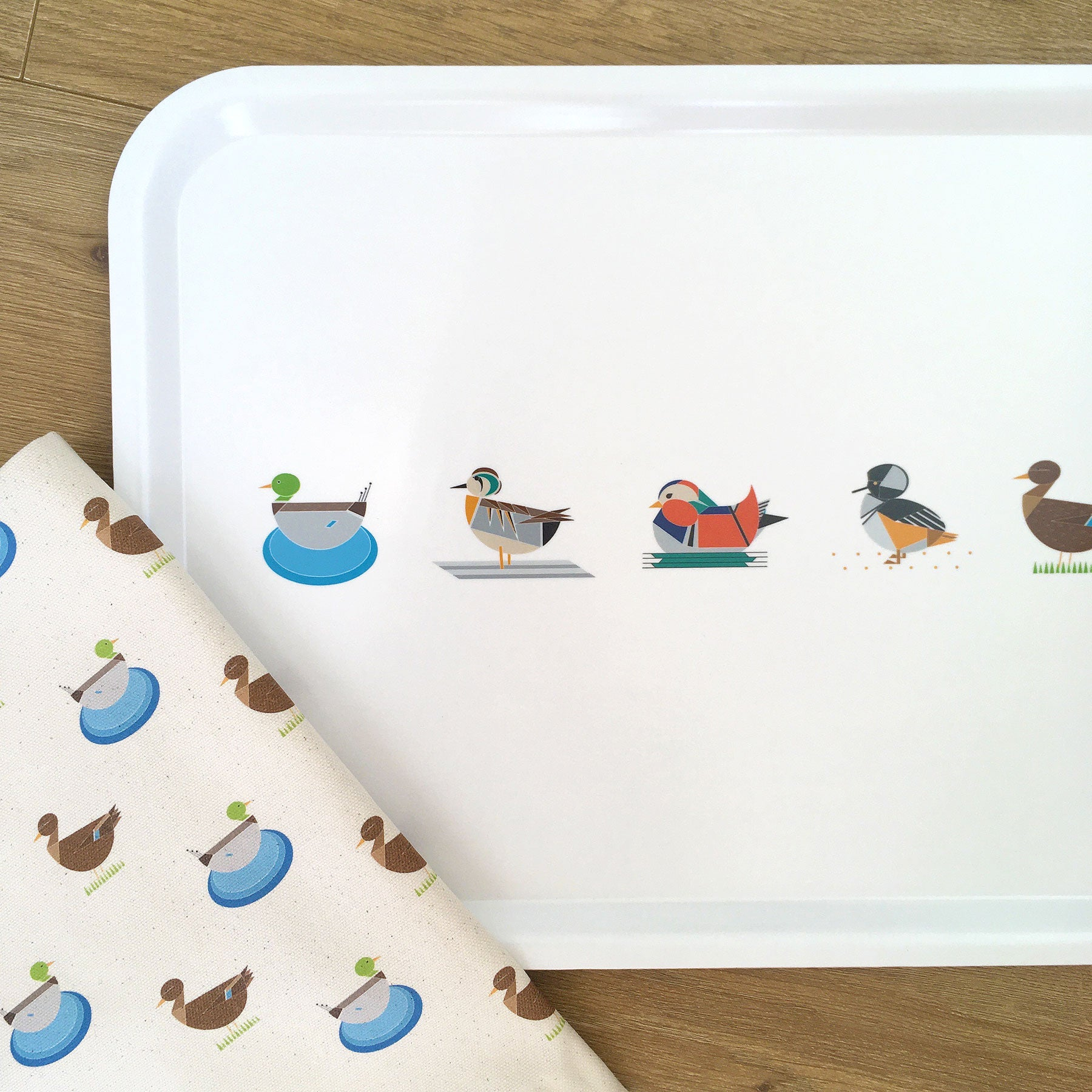 Dabbling Ducks Tray + Tea Towel Gift Set