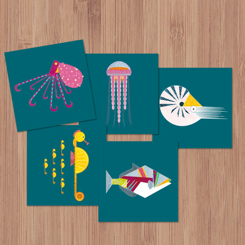 Pack of 5 Sea Creatures Greetings Cards