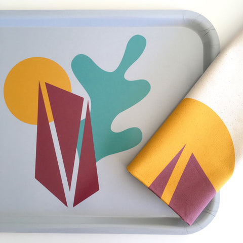 Aland Abstract Tray + Tea Towel Gift Set