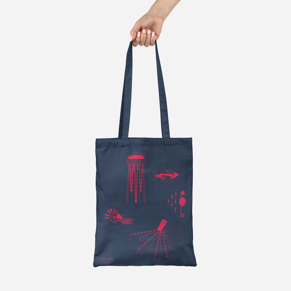 Sea Creatures tote made from recycled fabric in neon coral