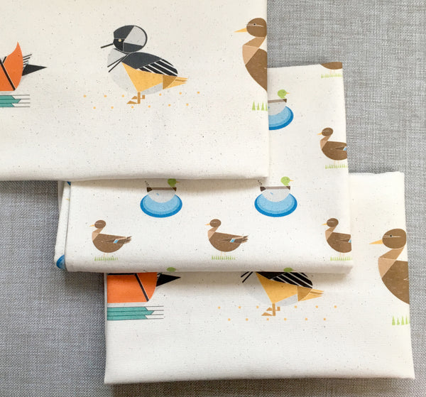 Dabbling Ducks set of 3 Organic Cotton Tea Towels