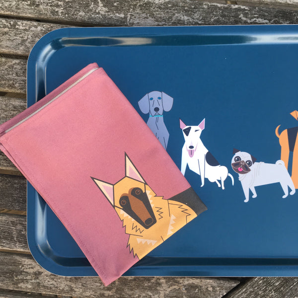 Doggy friends pink tea towel made from 100% organic cotton