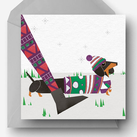 Pack of 5 Winter Walkies Sausage Dog charity Christmas card