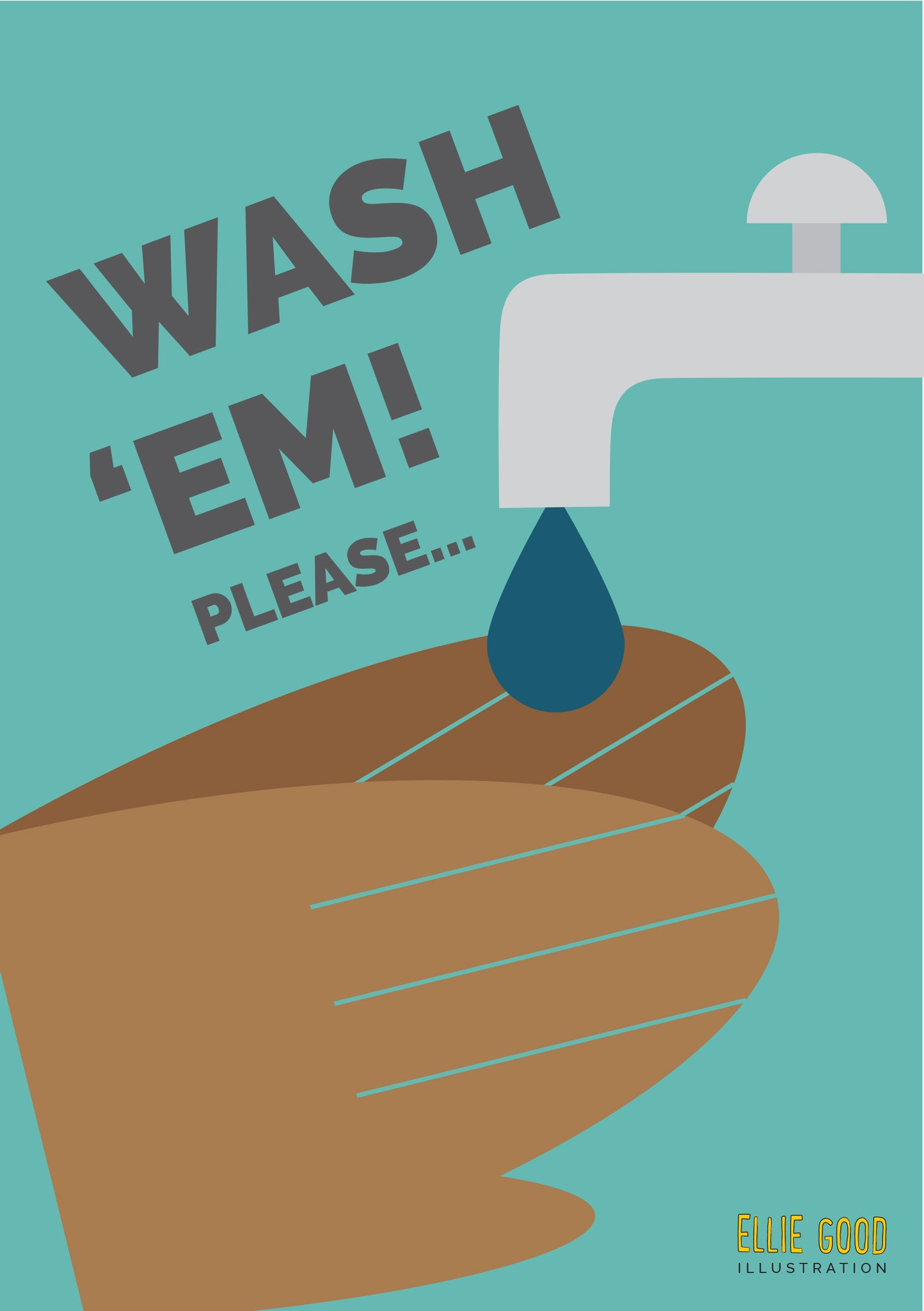 Wash 'em! Hand wash reminder printable in aqua or pink