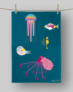 Organic cotton sea creatures tea towel