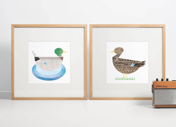 Mr & Mrs Mallard Ducks riso prints - limited edition (unframed)
