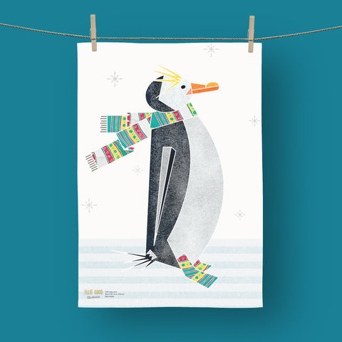 Winter Penguin tea towel made with organic cotton